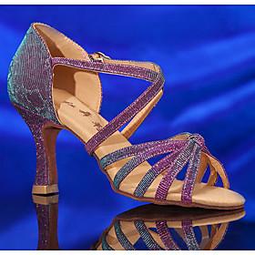 Women's Latin Shoes Heel Flared Heel Leather Black / Purple