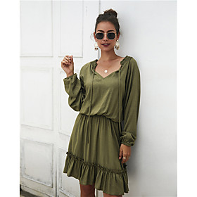 Women's A-Line Dress Knee Length Dress - Long Sleeve Solid Color Ruffle Fall Winter V Neck Casual 2020 Blue Wine Army Green S M L XL