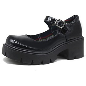 Women's Lolita Shoes Summer Flat Heel Round Toe Daily Solid Colored PU Black