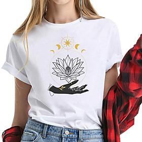 Women's T-shirt Graphic Prints Print Round Neck Tops 100% Cotton Basic Basic Top White Yellow Blushing Pink