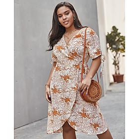 Women's Swing Dress Knee Length Dress - Half Sleeve Print Print Summer V Neck Plus Size Casual Loose 2020 Beige XL XXL 3XL 4XL
