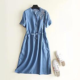 Women's A-Line Dress Midi Dress - Short Sleeve Geometric Embroidered Summer V Neck Casual Cotton 2020 Blue M L