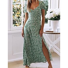 Women's A-Line Dress Maxi long Dress - Short Sleeve Floral Summer V Neck Sexy Cotton 2020 Green S M L XL
