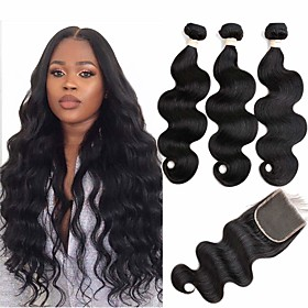3 Bundles with Closure Hair Weaves Brazilian Hair Body Wave Human Hair Extensions Remy Human Hair 100% Remy Hair Weave Bundles 345 g Natura