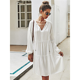Women's A-Line Dress Knee Length Dress - Long Sleeve Solid Color Ruched Spring Fall V Neck Casual Loose 2020 White Yellow Army Green S M L XL