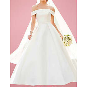 A-Line Wedding Dresses Off Shoulder Floor Length Satin Sleeveless Formal with 2020