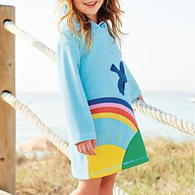 Toddler Girls' Patchwork Long Sleeve Dress Light Blue