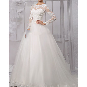 Ball Gown Wedding Dresses Jewel Neck Sweep / Brush Train Lace Tulle Long Sleeve Formal with Appliques 2020