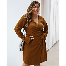 Women's Swing Dress Knee Length Dress - Long Sleeve Solid Color Fall Winter V Neck Plus Size Casual Flare Cuff Sleeve Loose 2020 Army Green Camel Navy Blue XL