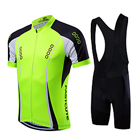 Fastcute Men's Short Sleeve Cycling Jersey with Bib Shorts Coolmax Lycra Yellow Red Light Green Bike Clothing Suit Breathable Quick Dry Sports Mount