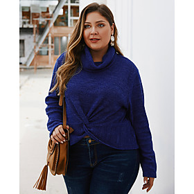 Women's Solid Colored Pullover Long Sleeve Plus Size Loose Oversized Sweater Cardigans Turtleneck Fall Winter Navy Blue