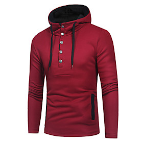 Men's Hoodie Solid Colored Hooded Basic Hoodies Sweatshirts  Black Wine Gray
