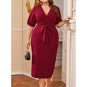 Women's Shift Dress Knee Length Dress - Half Sleeve Solid Color Summer V Neck Plus Size Casual 2020 Wine 3XL 4XL 5XL 6XL
