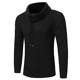 Men's Casual / Daily Classic Solid Colored Pullover Long Sleeve Sweater Cardigans Turtleneck Fall Winter Black Brown