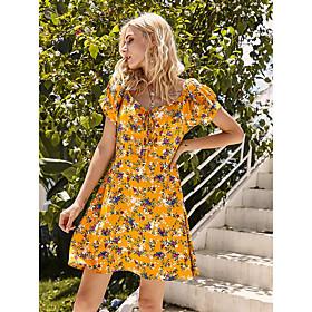 Women's A-Line Dress Knee Length Dress - Short Sleeve Print Print Summer V Neck Mumu Holiday Cap Sleeve 2020 Yellow XS S M L