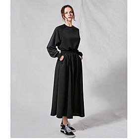 Women's A-Line Dress Midi Dress - Long Sleeve Solid Color Fall Winter Casual Elegant Cotton 2020 Black Gray L XL XXL 3XL 4XL 5XL