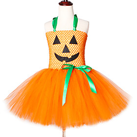 Kids Girls' Sweet Sophisticated The Little Mermaid Patchwork Cartoon Halloween Layered Mesh Sleeveless Knee-length Dress Orange