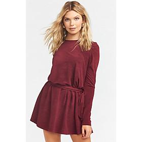 Women's A-Line Dress Short Mini Dress - Long Sleeve Solid Color Fall Casual 2020 Wine Dark Gray S M L XL