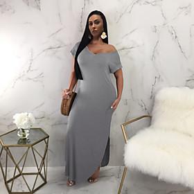 Women's Sheath Dress Maxi long Dress - Short Sleeve Solid Color Split Summer Sexy 2020 Wine Khaki Green Gray S M L XL