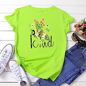 Women's Be kind T-shirt Animal Letter Print Round Neck Tops 100% Cotton Basic Basic Top White Black Yellow
