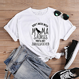 Women's Mom T-shirt Graphic Prints Letter Print Round Neck Tops Slim 100% Cotton Basic Basic Top White