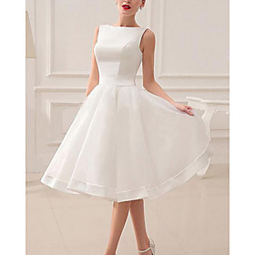 A-Line Wedding Dresses Jewel Neck Short / Mini Satin Sleeveless Vintage Little White Dress 1950s with Bow(s) 2020