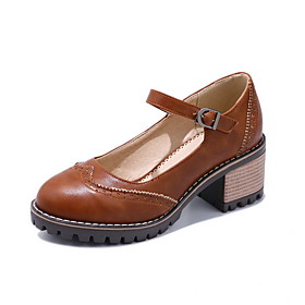Women's Heels / Lolita Shoes Spring / Summer Cuban Heel Round Toe Classic Vintage Daily PU Black / Brown / Beige