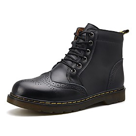Men's Boots Work Boots Classic Daily Leather Non-slipping Mid-Calf Boots Wine / Dark Brown / Black Winter