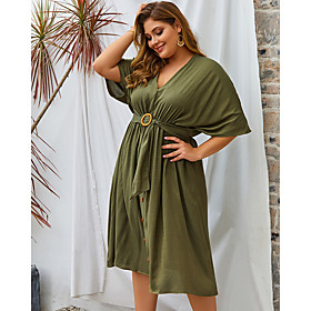 Women's Swing Dress Knee Length Dress - Half Sleeve Solid Color Spring Summer V Neck Plus Size Casual Loose 2020 Black Blushing Pink Army Green XL XXL 3XL 4XL