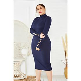 Women's Sheath Dress Midi Dress - Long Sleeve Solid Color Fall Plus Size Sexy Oversized 2020 Blue Wine Gray XL XXL 3XL 4XL 5XL