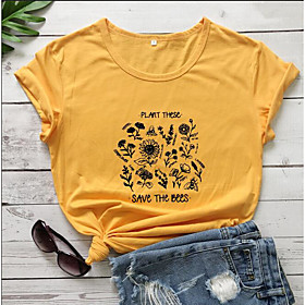Women's T-shirt Graphic Prints Letter Print Round Neck Tops Slim 100% Cotton Basic Basic Top Black Purple Red