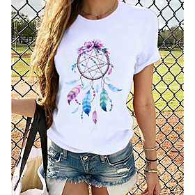 Women's T-shirt Butterfly Graphic Prints Round Neck Tops Slim 100% Cotton Basic Top Butterfly White Black