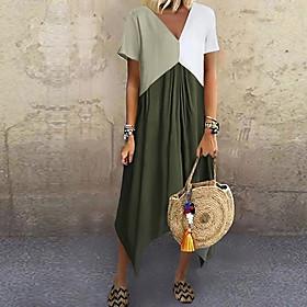 Women's A-Line Dress Midi Dress - Short Sleeve Color Block Color Block Spring  Summer V Neck Stylish Hot 2020 Red Green Gray Light Blue S M L XL XXL 3XL 4XL 5X