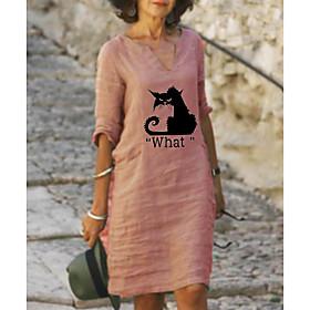 Women's A-Line Dress Knee Length Dress - Half Sleeve Animal Letter Print Summer Fall V Neck Plus Size Casual Loose 2020 Yellow Blushing Pink Light Green Light