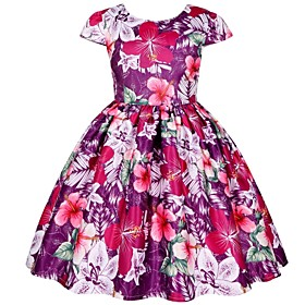 Kids Toddler Girls' Active Cute Floral Print Short Sleeve Knee-length Dress Purple