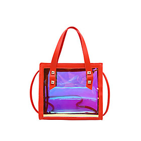 Women's Bags PU Leather Crossbody Bag for Daily Black / Red / Yellow / Blushing Pink