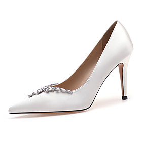 Women's Heels / Wedding Shoes 2020 Spring / Fall Stiletto Heel Pointed Toe Basic Sexy Sweet Wedding Party  Evening Rhinestone / Sparkling Glitter Solid Colored