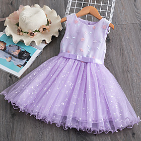 Kids Girls' Active Cute Solid Colored Lace Sleeveless Knee-length Dress Purple