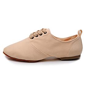 Women's Jazz Shoes Flat Flat Heel Polyester Black / Red / Pink / Performance / Practice