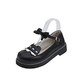 Women's Lolita Shoes Summer Flat Heel Round Toe Daily Solid Colored PU Dark Brown / Black / Ivory