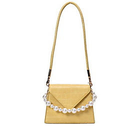 Women's Bags PU Leather Crossbody Bag Pearls for Daily White / Black / Purple / Yellow