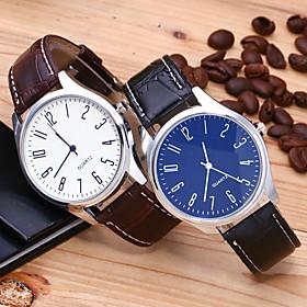 Men's Dress Watch Quartz Stylish Casual GMT Analog White Blue Black / White / One Year / Leather