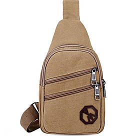 Men's Bags Canvas Sling Shoulder Bag for Daily / Outdoor Black / Khaki / Green / Brown