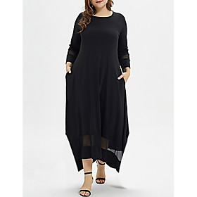 Women's A-Line Dress Maxi long Dress - Long Sleeve Solid Colored Plus Size Casual Black XL XXL 3XL 4XL 5XL
