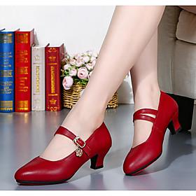 Women's Latin Shoes Heel Cuban Heel PU Black / Red / Gold