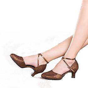 Women's Modern Shoes Heel Cuban Heel Synthetics Glitter Black / Gold / Brown / Performance / Practice