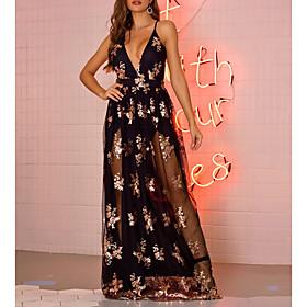 Women's A-Line Dress Maxi long Dress - Sleeveless Floral Print Summer V Neck Elegant 2020 Black Gold Green S M L XL