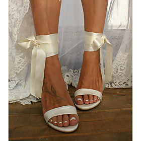 Women's Wedding Shoes Pumps Open Toe Basic Boho Wedding Party  Evening Bowknot Ribbon Tie Lace-up Solid Colored PU Summer White / Ivory