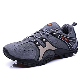 Men's Sneakers Hiking Shoes Breathable Comfortable Running Hiking Autumn / Fall Winter Grey Brown Golden / White