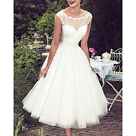 A-Line Wedding Dresses Jewel Neck Knee Length Lace Tulle Sleeveless Vintage 1950s with Appliques 2020